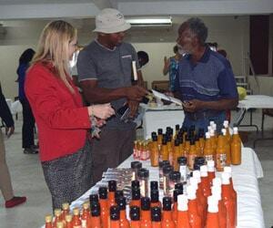 Display of Nevis Pepper Sauce