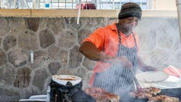 Street Vendor Grilling In Charlestown, Nevis