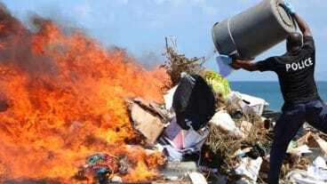 Nevis Police Burn Illegal Drugs