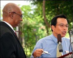Premier Parry with Ambassador Wu