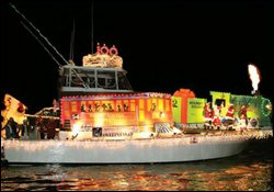 Boat Decorated With Christmas Light Display