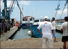 Boats Being Lifted To Safety In St. Kitts