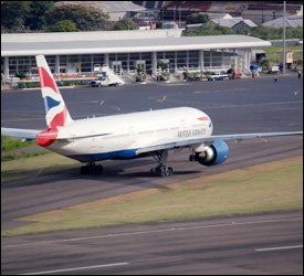 British Airways Flight Taxis At St. Kitts Airport