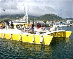 Cruise Passengers Enjoy A Catamaran Tour