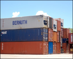Containers Arriving In St. Kitts - Nevis
