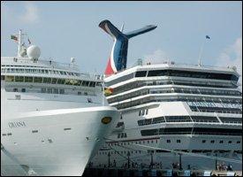 Cruise Ships Oriana and Victory At Port Zante