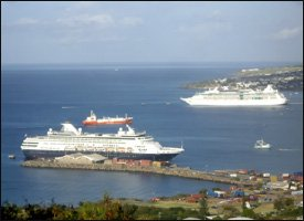 Cruise Ships Moored At St. Kitts' Port Zante