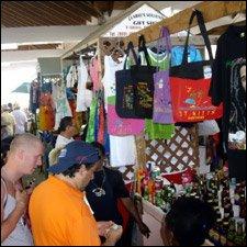 Cruise Ship Tourists At St. Kitt's Shops