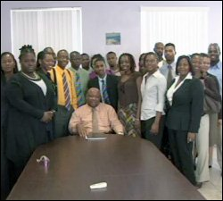 Minister Daniel and UWI Students