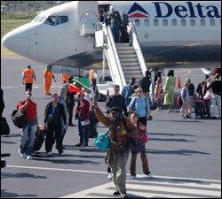 Delta Flight From Atlanta At St. Kitts Airport