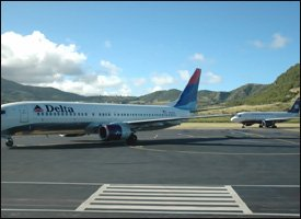 Delta Flights On Tarmac At St. Kitts Airport