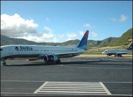 Delta Flights On Tarmac At St. Kitts Airport