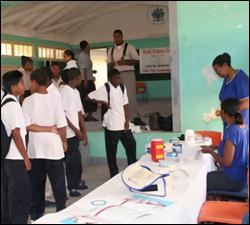Diabetes Screening Test at Gingerland Secondary School