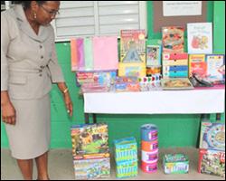 Mrs. Lescott with School Supplies Donation