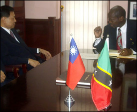 Taiwan Envoy Dr. Lai and St. Kitts - Nevis PM Douglas