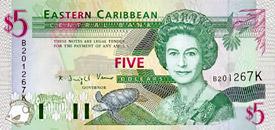 Eastern Caribbean Five Dollar Note
