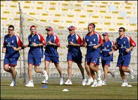 The English Cricket Team Warm Up For The Windies