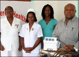 Nevis Hospital Staff With Fetal Heart Monitor