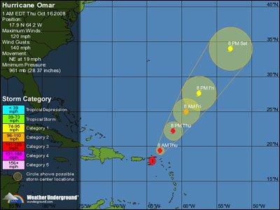 Hurricane Omar Heads Towards Nevis