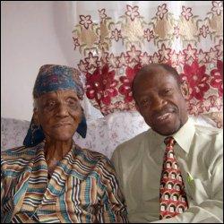 Iris Elliott With PM Douglas On Her 103rd Birthday