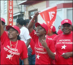 Labour Party Supporters Rally Around PM Douglas