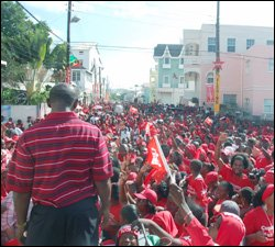 PM Douglas Looks Out Over Victory Celebration Crowd