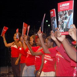 Labour Party Supporters Display Manifesto