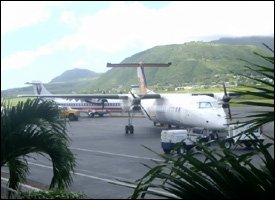 LIAT and American Eagle Planes At St. Kitts Airport