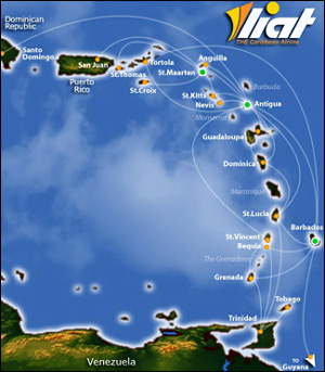 LIAT Airlines Flight Routes Map