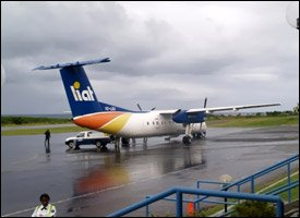 LIAT Dash 8 Plane At Nevis Airport