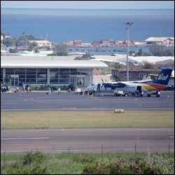 Passengers Board LIAT Plane At St. Kitts Airport
