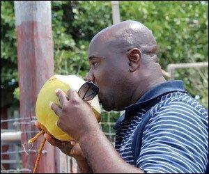 Nevis Ag Minister Enjoys Coconut Water