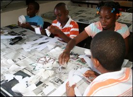 Nevis Children At Christmas Craft Workshop