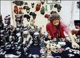 Nevis Artist Sets Up Culturama Booth