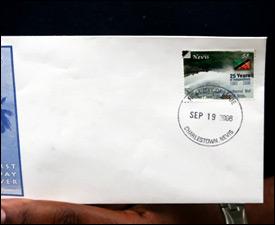 Nevis First Day Issue Anniversary Stamp