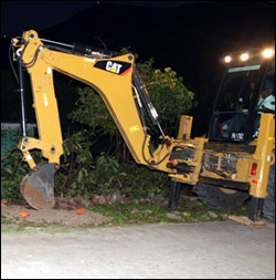 Nevis' Minister Daniel On Backhoe