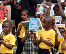 Nevis Students With Donated Books