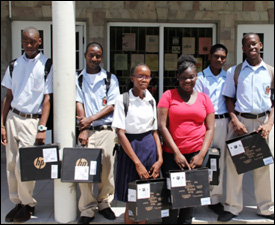 Nevis Students With New Laptops