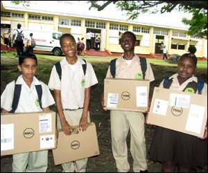 Nevis Students With Laptops