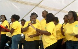 Nevis Teachers Performing At Rally