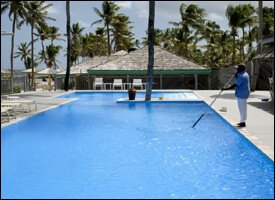 The Pool At Nisbet Plantation Is At The Ocean's Edge