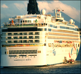 Norwegian Dawn Cruise Ship at Anchor in St. Kitts