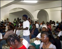 Audience At Old Road Town Hall Meeting