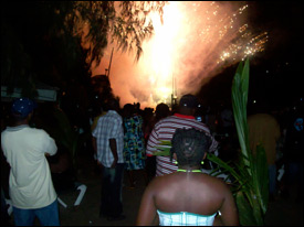 Guests Enjoy Fireworks Display At The Oualie Beach Hotel