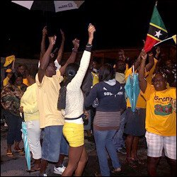 PAM Supporters Fill The Streets of Basseterre