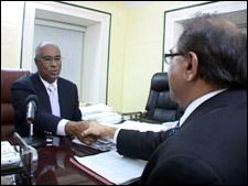Nevis Premier Parry With Alec Saini