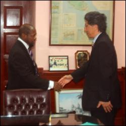 PM Douglas Greets Ambassador Tezuka