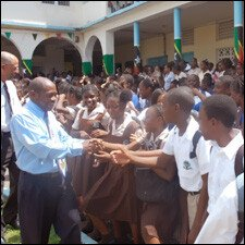 PM Douglas Greets Basseterre High School Students