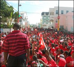 PM Douglas Looks Out On Victory Crowd