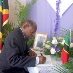 PM Douglas Signs Condolence Book
